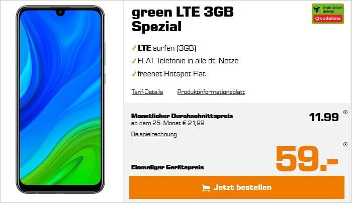 Huawei P Smart 2020 mit green LTE 3 GB im Vodafone-Netz bei Saturn
