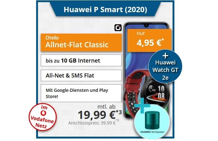 Huawei P Smart (2020) mit zwei Zugaben zum Otelo Allnet-Flat Classic bei tophandy