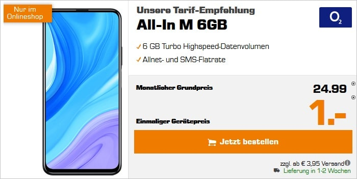 Huawei P Smart Pro mit o2 Blue All-In M bei Saturn