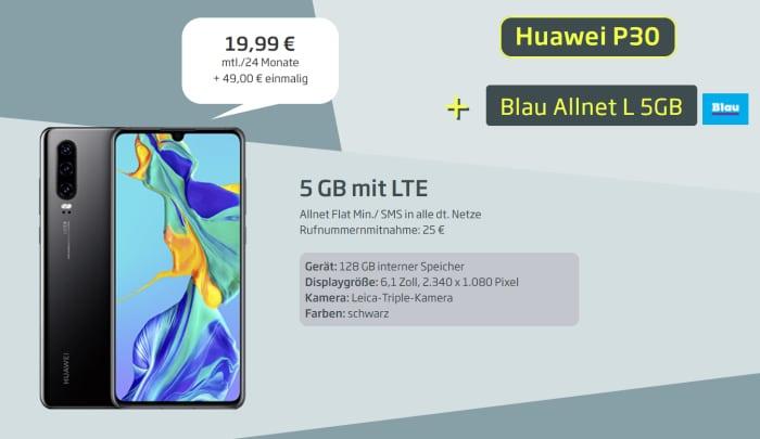 Huawei P30 Blau Allnet L Curved