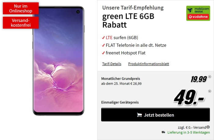 S10 zum green LTE Vodafone