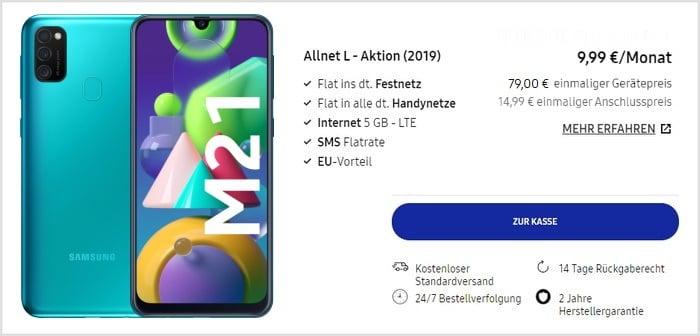 Samsung Galaxy M21 + Blau Allnet L im Samsung Online-Shop