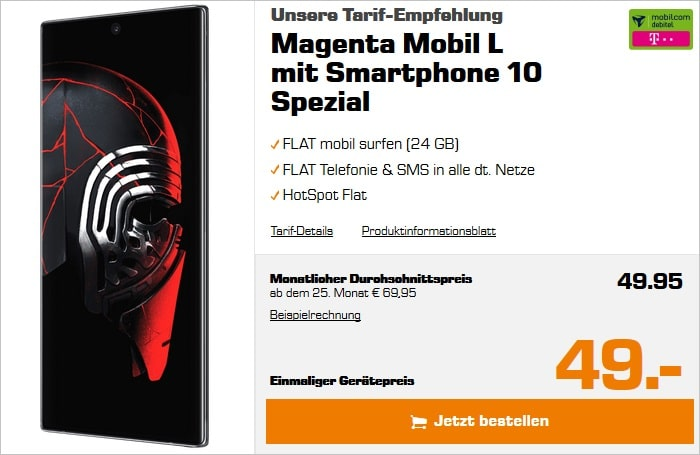 Samsung Galaxy Note10 Plus Star Wars Special Edition mit md Magenta Mobil L im Telekom-Netz bei Saturn