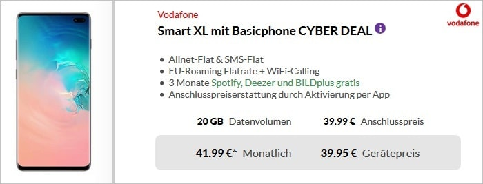 Samsung Galaxy S10 Plus + Vodafone Smart XL bei Preisboerse24