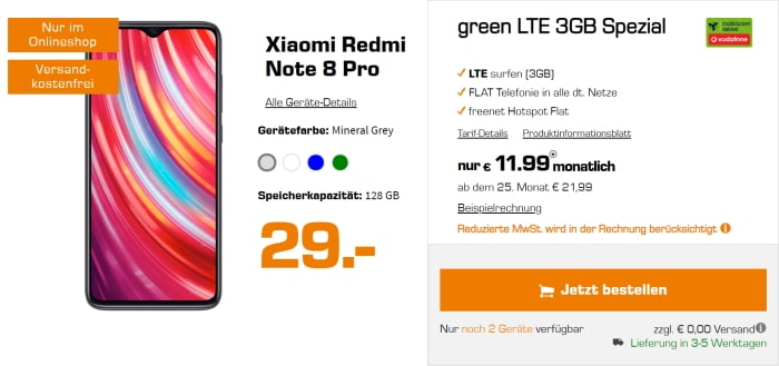 Xiaomi Redmi Note 8 Pro green LTE 3 GB Saturn
