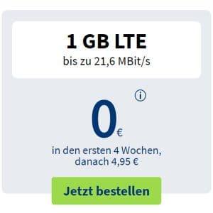 free Prepaid Freikarte: Neuen Handytarif 4 Wochen gratis testen - 1 GB LTE + 100 Min/SMS