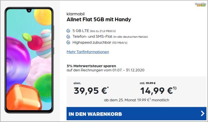 Samsung Galaxy A41 + klarmobil Allnet Flat (Vodafone-Netz) bei Preisbörse24