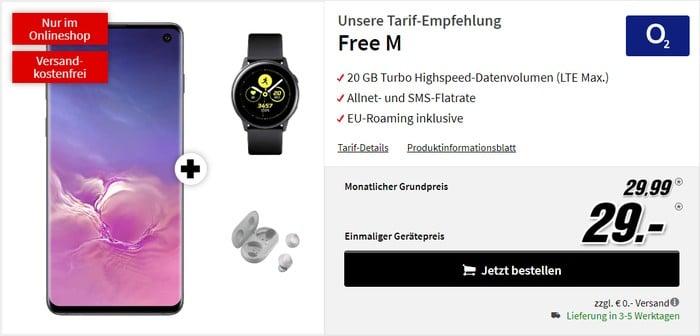 Samsung Galaxy S10 + Samsung Galaxy Watch Active + Samsung Galaxy Buds + o2 Free M bei MediaMarkt