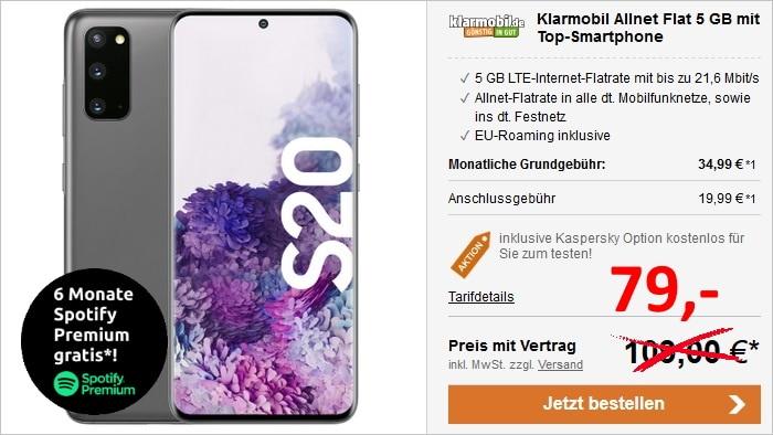 Samsung Galaxy S20 + klarmobil Allnet Flat 5 GB LTE (Vodafone-netz) bei LogiTel