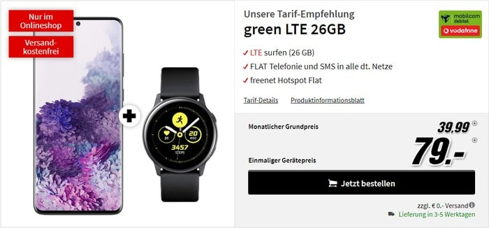 Samsung Galaxy S20 Plus + Samsung Galaxy Watch Active + mobilcom-green LTE (Vodafone-Netz) bei MediaMarkt