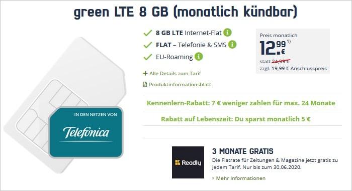 green LTE 8 GB Telefonica mtl. kündbar mit Readly