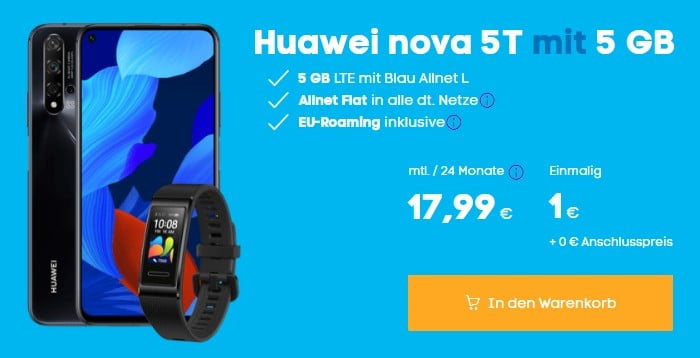 Huawei Nova 5T + Huawei Band 4 Pro + Blau Allnet L bei Blau