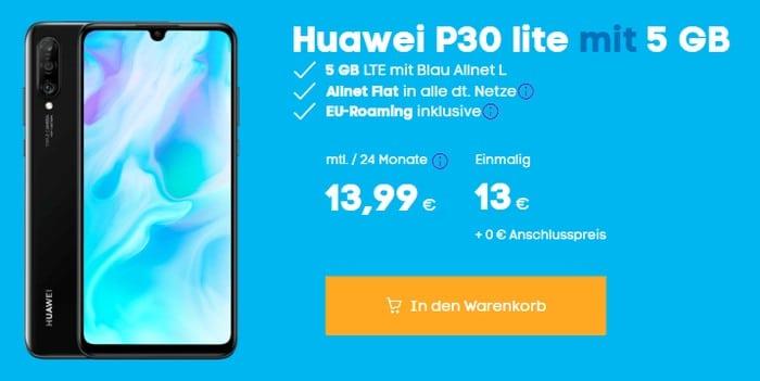 Huawei P30 Lite + Blau Allnet L bei Blau