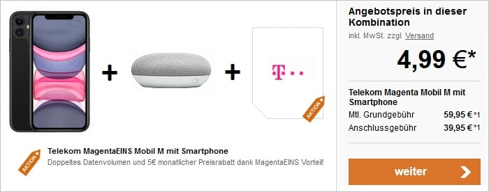 iPhone 11 128 GB mit Google Home Mini zum Telekom MagentaMobil M bei LogiTel