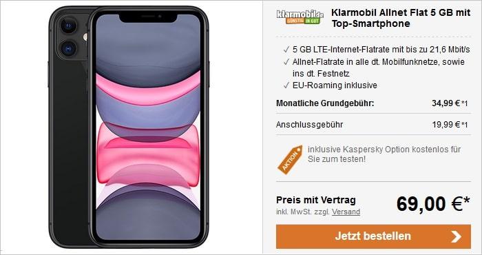 iPhone 11 mit klarmobil Allnet Flat 5 GB LTE im Vodafone-Netz bei LogiTel