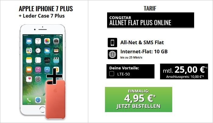 iPhone 7 Plus mit Ledercase zur Congstar Allnet Flat Plus bei Talkthisway