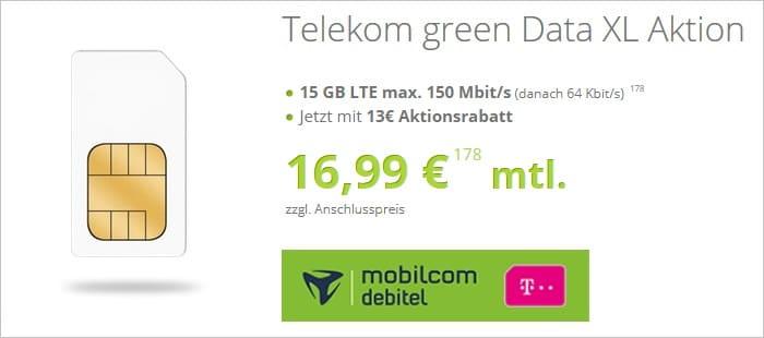 green Data Xl mit 15 GB LTE im Telekom-Netz bei gethandy