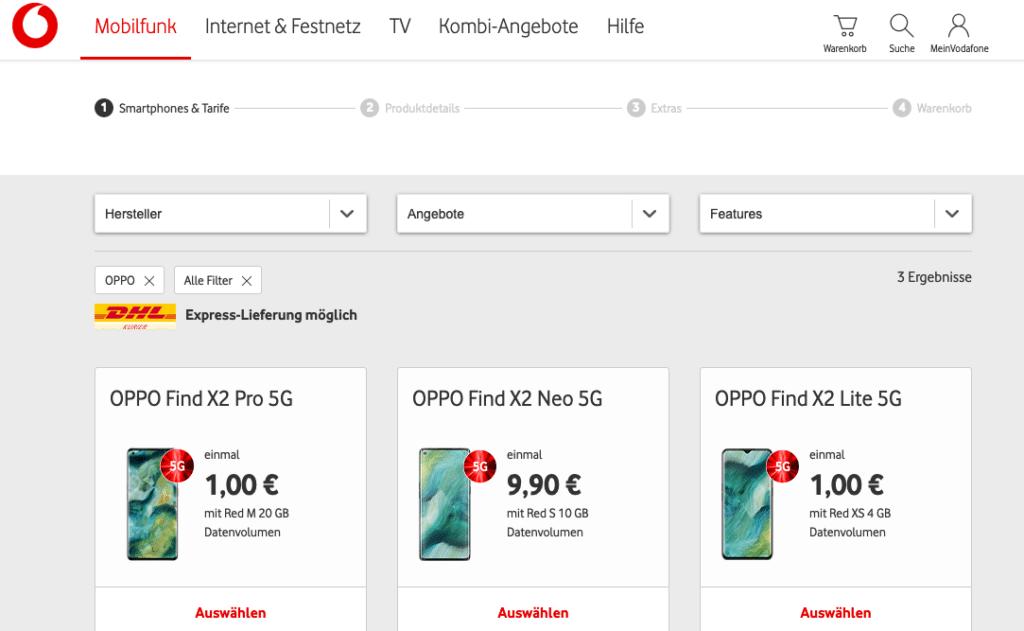 Oppo Vodafone Handytarife