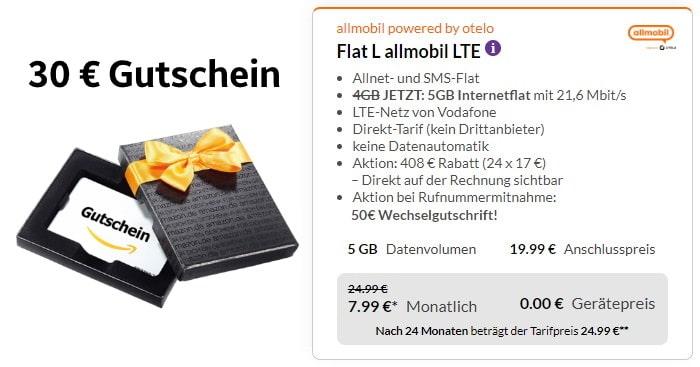 otelo allmobil Flat L mit 30 € Amazon-Gutschein bei Preisboerse24