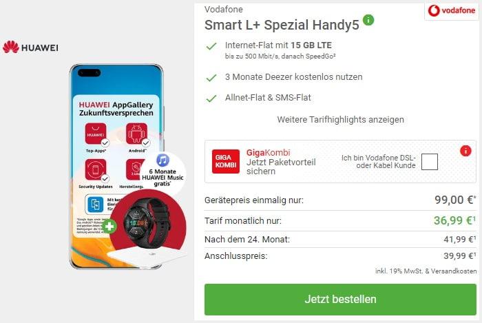 Huawei P40 Pro + Huawei Watch GT 2e + Huawei AH100 Waage mit Vodafone Smart L Plus bei DeinHandy