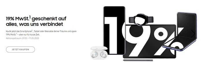 Samsung-Aktion: 19% Mehrwertsteuer geschenkt auf Smartphones, Tablets