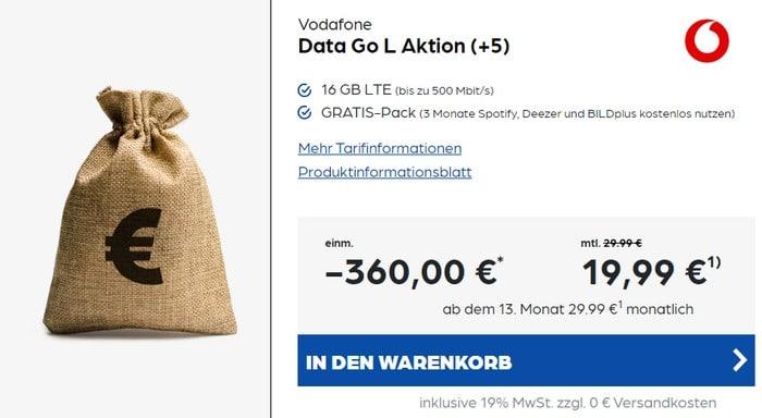 Vodafone DataGo L mit 360 € Cashback bei Preisboerse24