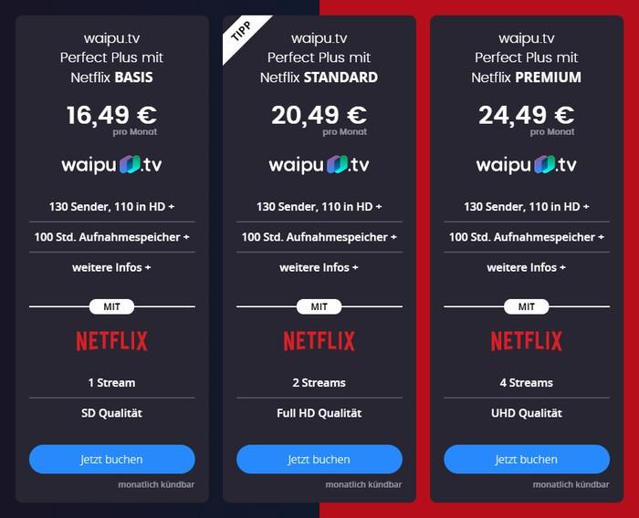 waipu.tv Perfect Plus Netflix Pakete im Vergleich
