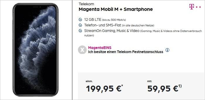 Apple iPhone 11 Pro zum Telekom MagentaMobil M bei Preisboerse24