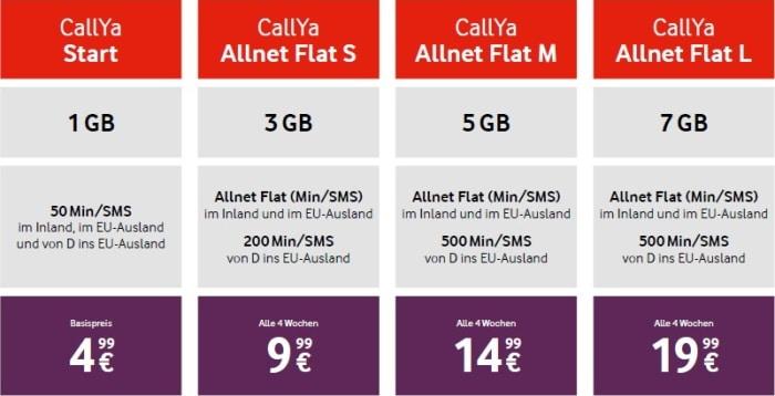 Vodafone CallYa-Tarife ab dem 15. September 2020