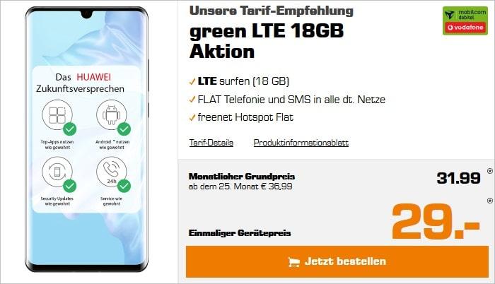 Huawei P30 Pro mit zwei Zugaben zum green LTE 18 GB im Vodafone-Netz bei Saturn