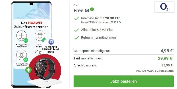 Huawei P30 Pro mit zwei Zugaben zum o2 Free M bei DeinHandy