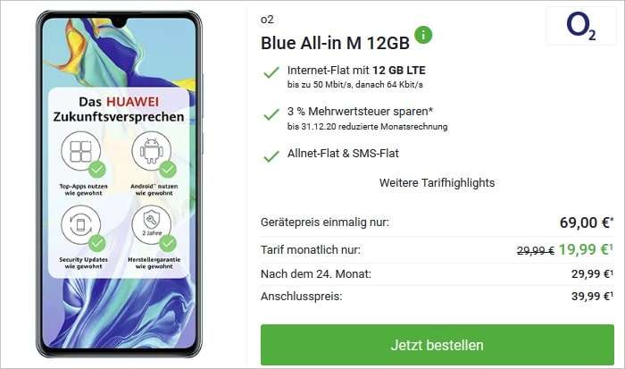Huawei P30 mit o2 Blue All-in M 12 GB LTE bei DeinHandy