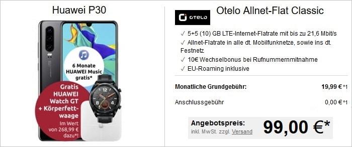 Huawei P30 mit zwei Zugaben und otelo Allnet-Flat Classic bei LogiTel