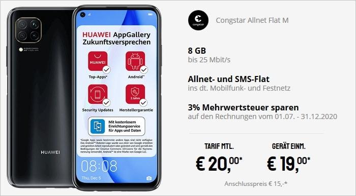 Huawei P40 Lite mit congstar Allnet Flat M bei Sparhandy
