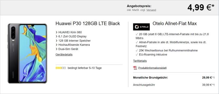 Huawei P30 mit otelo Allnet-Flat Max (Logitel)