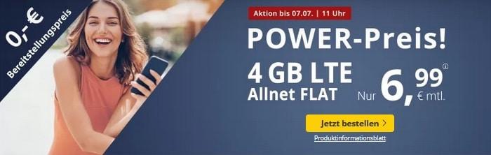 PremiumSIM LTE M 4 GB zum Aktionspreis Juni Juli Monatswechsel