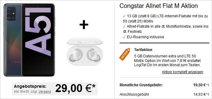 Samsung Galaxy A51 mit Samsung Galaxy Buds Plus zur congstar Allnet Flat M bei LogiTel