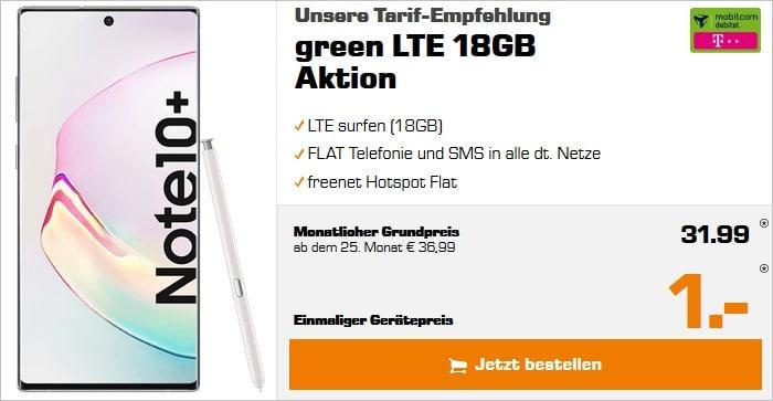 Samsung Galaxy Note 10 Plus mit green LTE 18 GB im Telekom-Netz bei Saturn