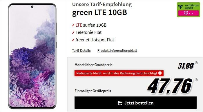Samsung Galaxy S20 Plus mit green LTE 10 GB im Telekom-Netz bei MediaMarkt