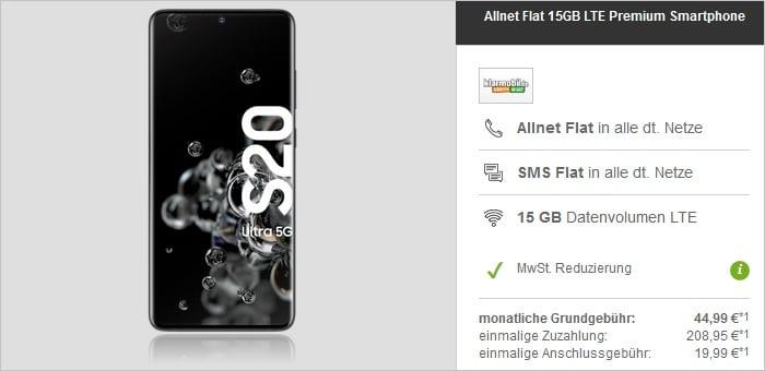 Samsung Galaxy S20 Ultra mit klarmobil Allnet Flat 15 GB LTE bei modeo