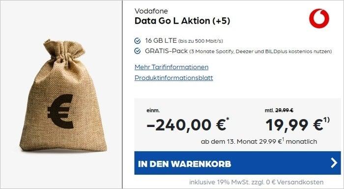 Vodafone DataGo L mit 240 € Cashback bei Preisboerse24