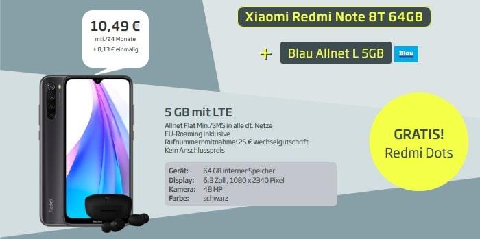 Xiaomi Redmi Note 8T mit AirDots zum Blau Allnet L mit 5 GB LTE bei curved