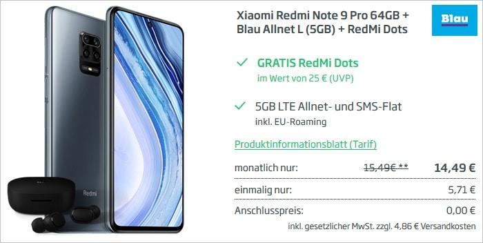 Xiaomi Redmi Note 9 Pro mit Zugabe zum Blau Allnet L 5 GB bei Curved