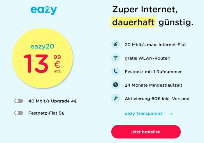 Die günstigste Internet-Flat: eazy20