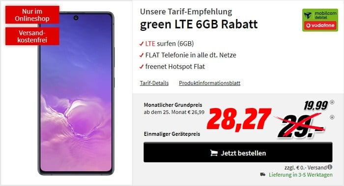 Samsung Galaxy S10 Lite + mobilcom-debitel green LTE (Vodafone-Netz) bei MediaMarkt