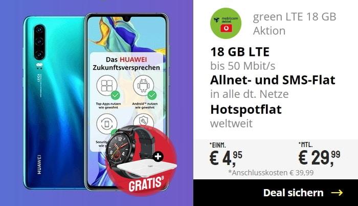 Huawei P30 + Huawei Watch GT + Huawei AH100 Waage + mobilcom-debitel green LTE (Telekom-Netz) bei Sparhandy