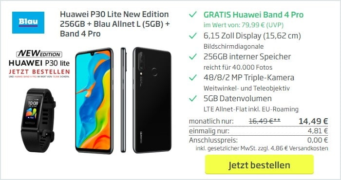 Huawei P30 Lite (New Edition) + Huawei Band 4 Pro + Blau Allnet L bei Curved