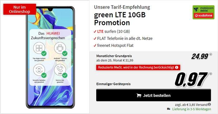 Huawei P30 + mobilcom-debitel green LTE (Vodafone-Netz) bei MediaMarkt