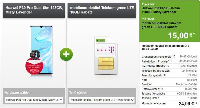 Huawei P30 Pro + Huawei Watch GT + Huawei AH100 Waage + mobilcom-debitel green LTE (Telekom-Netz) bei Modeo