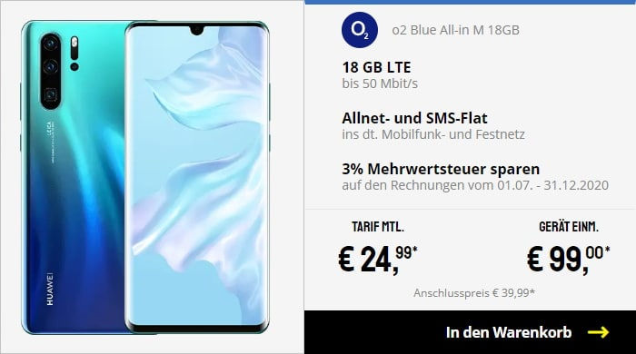 Huawei P30 Pro + o2 Blue All-in M bei Sparhandy